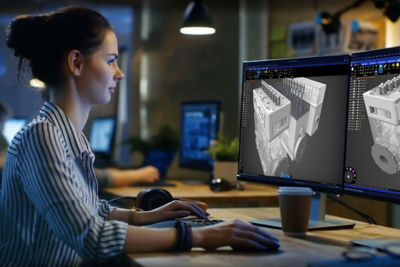 Woman using Ansys 3D Desgin software