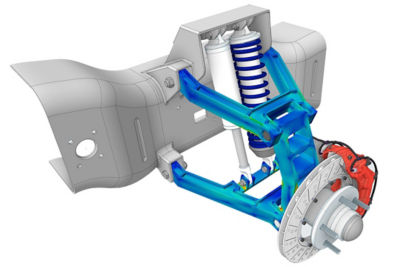 Ansys Discovery simulation of a lithium battery pack and power connections from an electric car