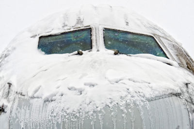 Aircraft covered by ice