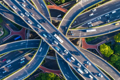 Cars traveling across freeways