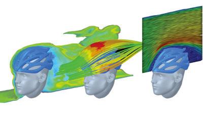 Cycle helmet simulation