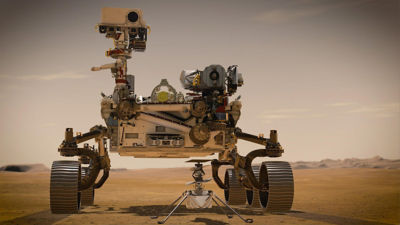 An illustration of the NASA Perseverance rover and Ingenuity helicopter on Mars. Credit: NASA/JPL-Caltech