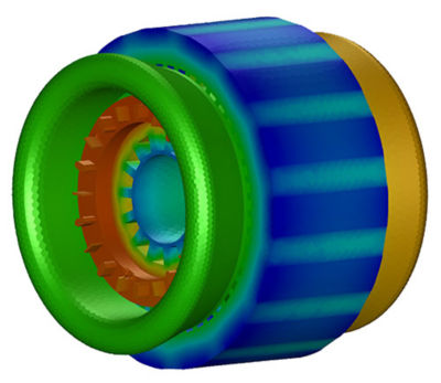 Temperature distribution on stator, windings and rotor computed by CFD