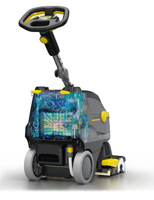 Floor cleaner with battery pack simulation