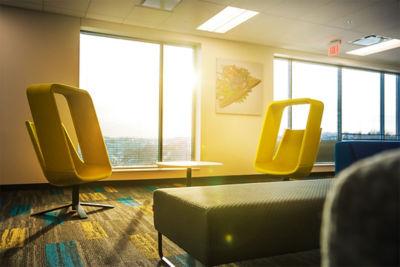 an office chair in the sun light