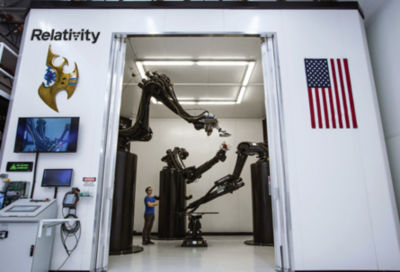 Photo of robotic arms at Relativity Space