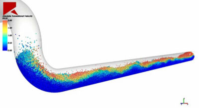 Simulation of particle transport in a pipe