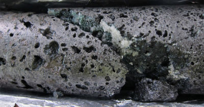Climeworks-captured CO2 turned into stone with the Carbfix process. Carbfix developed a process that captures CO2 and other acid gases in water, then injects this water into the subsurface where the gases are stored as stable minerals. Credit Carbfix. Photo by Sandra O Snaebjornsdottir