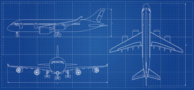 Commercial airplane blueprint