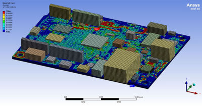 Figure 1: Rapid model creation using a novel solution available through Ansys Sherlock and Workbench/Mechanical.