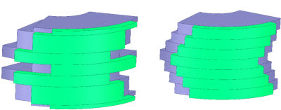 Permanent magnet skewed rotor topologies, including a customized skew configuration (left) and a V-shaped skew configuration (right)