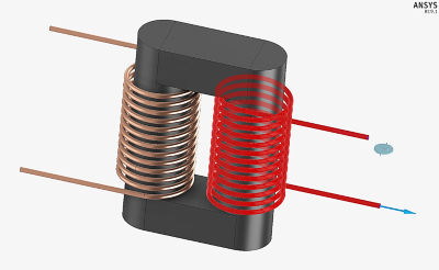 Ideal transformer coils with shared ferrite core