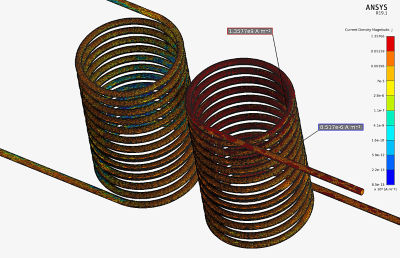 Mesh and current density is shown for transformer with no ferrite core