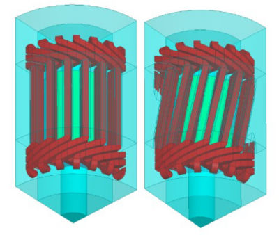 A fraction of 3D geometry of an electrical machine design showing straight stator slots (left) and skewed stator slots (right)