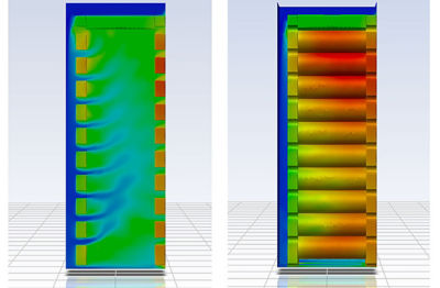 Left: Air distribution through the battery module. Right: Static temperature distribution in single battery module.