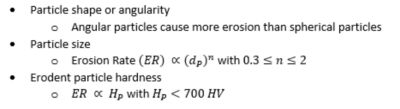 Erosion particle parameters