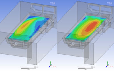 Initial and final design showing improved velocity distribution over the ice maker tray.