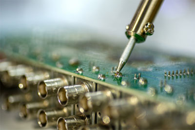 Flux residue on a circuit board
