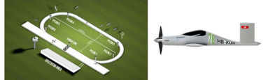 The Air Race E course and a side view of the Team Pie SA UR-1 electric aircraft