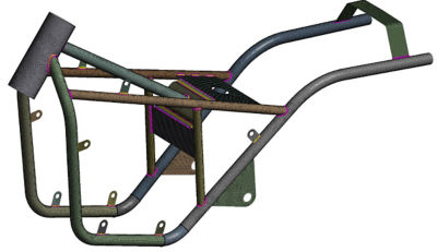 A motorcycle frame geometry meshed showing welded joints.