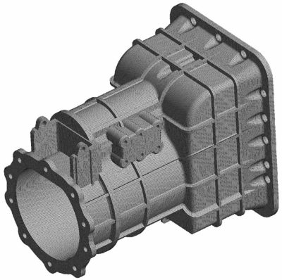An example mesh on a gearbox casing part.