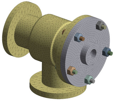 A pipe connection geometry using Ansys Mechanical's hybrid meshing capabilities