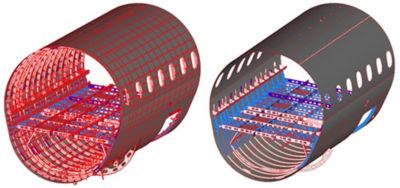 Fuselage section of original model (left) vs. the computational electromagnetics simulation model, showing component simplification