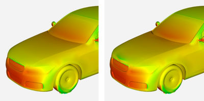 Baseline pressure (left) compared to improved pressure (right) after the Ansys Fluent adjoint solver optimized the geometry of the hood to reduce the drag coefficient.