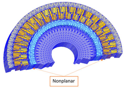 Field calculation on a circumferential symmetry using automatic nonplanar boundary conditions