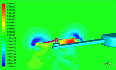 Instantaneous static pressure simulation showing a large pressure pulse resulting in a noise signature