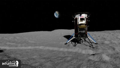 Rendering of Intuitive Machines' Nova-C on the moon