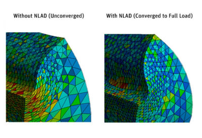 Element quality comparison between a simulation without NLAD and one with NLAD