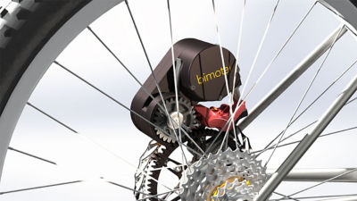 The Bimotal Elevate is a removable, lightweight and e-bike motor that mounts to your bike's disc brakes.