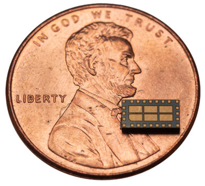 RF-to-DC system-in-package (penny included for scale)
