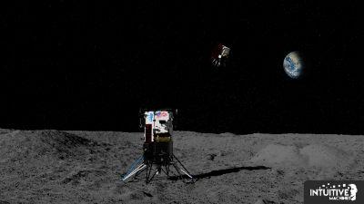 Rendering of Intuitive Machines' Nova-C lunar lander and flying rover