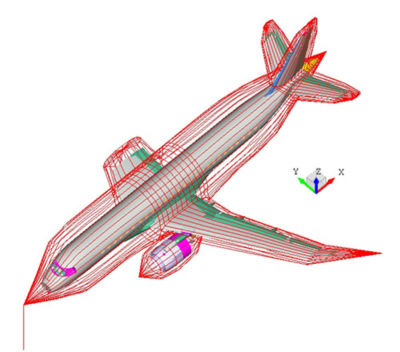 An aircraft model was initially prepared for in-flight configuration. Adjustments were made to the in-flight model to match the test configuration.