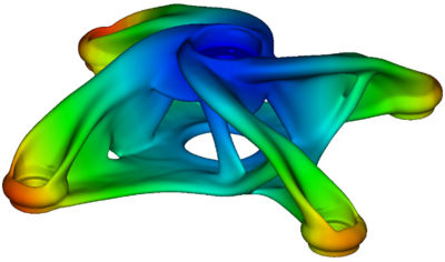 optimal design was made using Discovery Live's topology optimization tool