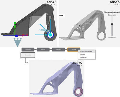 all stages of topology optimization of a bracket subjected to three load cases