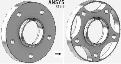 a wheel rim redesigned to reduce weights by 50% using topology optimization in Ansys AIM