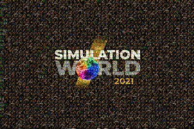 A mosaic of Simulation World 2021 showing attendees who took photos in the virtual photo booth.