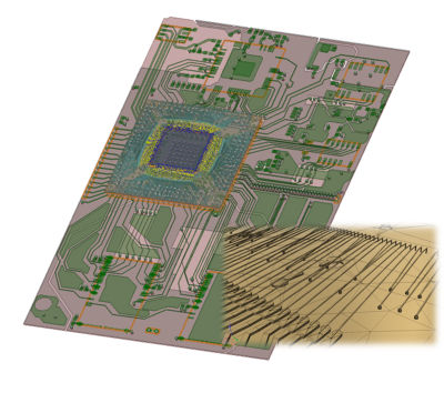 A recent benchmark on a PCB plus bondwire package model (image below) showed that initial mesh generation was 18x faster with Ansys HFSS Phi Plus Mesher
