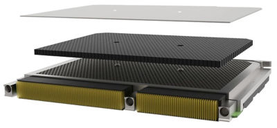 An exploded view of the Arsenal AM honeycomb heat sink with TPG core