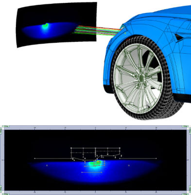 A simulation setup in Ansys SPEOS (top) using low-beam regulation measurements (bottom).