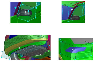 Morphing boxes selected for analysis in Ansys Fluent Adjoint Solver
