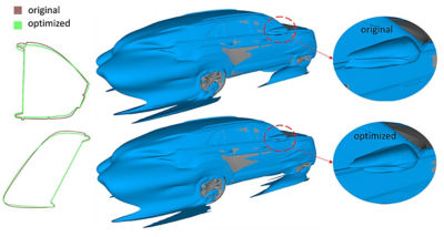 The mesh morphing results and the simulated flow field. The outlines at the top of the figure show mirror shape from the side and top, respectively.