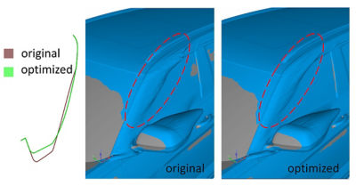 Comparing original vs. optimized A Pillar contours in Ansys Fluent Adjoint Solver