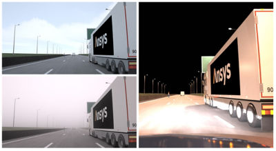 """Simulation via Ansys SPEOS replicates how an ADAS camera """"sees"""" a vehicle's physical surroundings in daylight, nighttime and foggy conditions."""